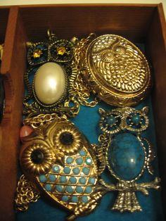 Vintage owl jewelry.