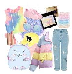 """""""Cat rainbow"""" by francesca-croci on Polyvore featuring The Gypsy Shrine, Holika Holika, Kenzo, Matthew Williamson, GUESS, Monsoon, Accessorize and 157+173 designers"""