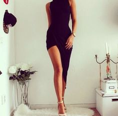 I want this!! ❤ Black assymetric dress