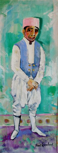 """Fred Gowland - Oil on Canvas - 'Doorman at the Hotel Mamounia Marrakech #1' 12"""" x 6"""""""