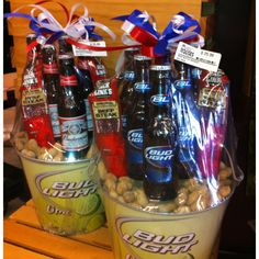 In search of booze event ideas?, say cheering with the use of cans of beer some knowledge wedding anniversary drink tour by using home brew taste of and booze themed event provides. Beer Bouquet, Liquor Bouquet, Fundraiser Baskets, Raffle Baskets, Fathers Day Gift Basket, Fathers Day Crafts, Diy Father's Day Gifts, Father's Day Diy, Beer Basket