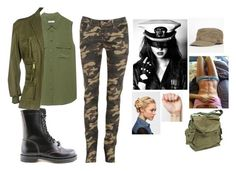 """""""Military %$%%"""" by inaspiriz ❤ liked on Polyvore featuring Equipment, Swedish Hasbeens, Dsquared2 and Eva NYC"""