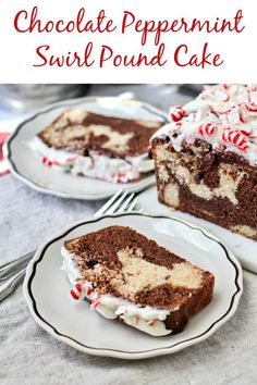 Peppermint swirl pound cake with chocolate #christmassweetsweek #peppermint #poundcakerecipes #chocolatecake