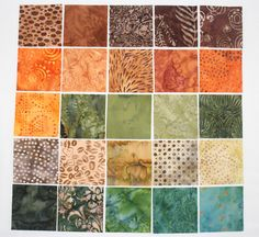 Batik Mini Charm Squares 25 2.5 inch squares by RedNeedleQuilts