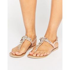 Faith Jiles Embellished Flat Sandals ($40) ❤ liked on Polyvore featuring shoes, sandals, pink, embellished thong sandals, pink sandals, flat thong sandals, flat shoes and slingback thong sandals