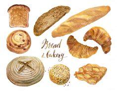 Watercolor bakery, bread collection by Natasha Koltsova on @creativemarket