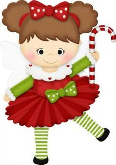 Cute girl holding a candy cane (12 pieces)