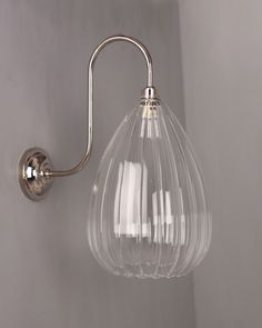 Designer Wall Light, Wellington Ribbed Glass Shade Swan Neck Bathroom Wall Light (IP44 Rated)