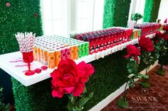 Rainbow Bat Mitzvah Drink Bar with Oversized Flowers & Garden-Inspired Decorations {Party by Swank Productions, Sean Smith Photography} - mazelmoments.com