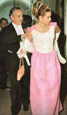 Grace and Rainier during Infanta Pilar of Borbon - King Juan of Spain- wedding in Madrid c. 1965