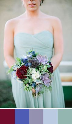 A color great palette for late summer or early fall. Source: Wedding Chicks #colorpalette #burgundy #bouquets