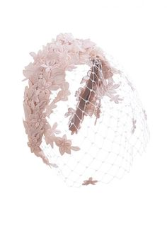 Nude hand-cut guipure luxury lace headband, perfect for bridal and occasion wear, created by our couture milliners in London.