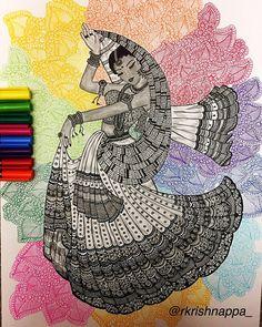 Fabulous Drawing On Creativity Ideas. Captivating Drawing On Creativity Ideas. Doodle Art Drawing, Zentangle Drawings, Mandala Drawing, Cool Art Drawings, Ink Drawings, Drawing Sketches, Drawing Faces, Lady Drawing, Mandala Sketch