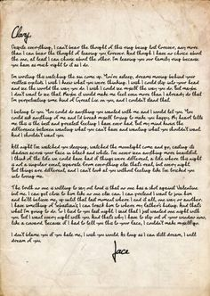 Just a few days ago Cassandra Clare made the letter that Jace left Clary in City of Glass available to the public! The Infernal Devices, The Mortal Instruments, Immortal Instruments, Belive In, Jace Lightwood, City Of Glass, Clary And Jace, Clary Fray, Cassie Clare