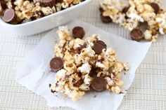 Using Left Over Halloween Candy: Reese's Peanut Butter Popcorn Recipe on twopeasandtheirpod.com #recipe