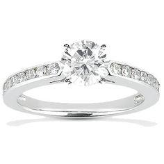 Trinity Lab Diamond Engagement Ring - 1 ct center stone / 10 .02ct. round stones $1001.00 - http://www.lab-diamonds.com/engagement-rings/multi-stone-html/trinity-engagement-ring.html