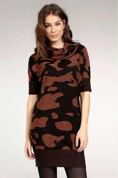 Expresso coltrui-jurk met  panterprint €119,95 ook in donkergoren met zwarte print