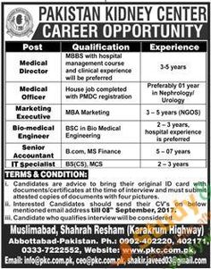 Amazing Positions Vacant In Pakistan Kidney Center 27th August 2017