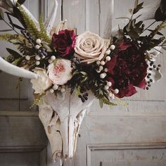 Close up of the preserved floral crown made for this deer skull, which was found in west Texas. Shades of deep raspberry, cream, cappuccino, green, and silvery blue. Preserved flowers last for years with very little maintenance. Something unique for your wall and a lovely way to honor this beautiful animal.