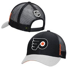 789b3a9b485 Flaunt your love for the Flyers with this Philadelphia Flyers Center Ice  Mesh Back Snapback Adjustable Cap from Reebok! This hat is all black mesh  with a ...