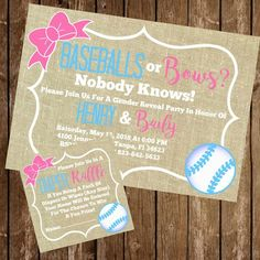 Baseball Gender Reveal, Wishes For Baby Cards, Gender Reveal Invitations, Diaper Raffle Tickets, Reveal Parties, Invitation Design, Burlap, Bows, Baby Gender