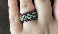 Green/Brown Superduo Ring with Burgundy Seed Bead Edging.