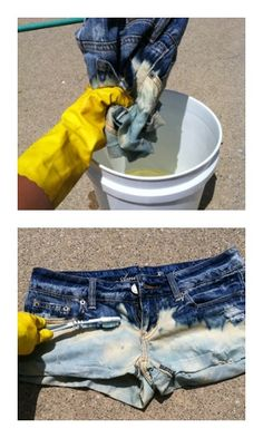 Fashion DIY: Bleached denim shorts.