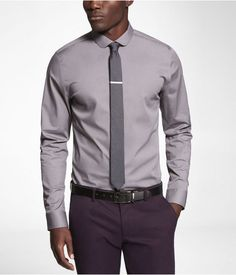 Express Mens Fitted 1Mx Club Collar Shirt Steel Gray, Small