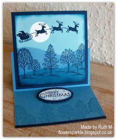 Flower Sparkle: Two Blue Brayered Scene Easel Cards