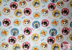 Cat fabric by the Yard, Designer Apparel kitten blue Fat quarter yardage Cats Quilting cotton Cat Background, Cat Fabric, Cat Quilt, All Holidays, Bag Patterns, Sewing For Kids, Pink Yellow, Gnomes, Scrappy Quilts