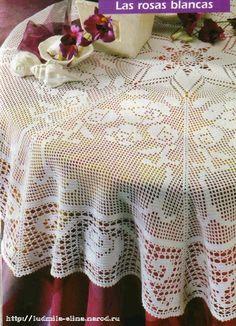 Home Decor Crochet Patterns - Part 2 - Beautiful Crochet Patterns and Knitting Patterns Crochet Tablecloth Pattern, Crochet Doily Patterns, Crochet Designs, Crochet Doilies, Crochet Eyes, Crochet Home, Thread Crochet, Mantel Redondo, Filet Crochet Charts