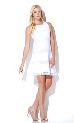25cb3e70dd DRESS LINEN AND LACE SLEEVELESS FIT AND FLARE DRESS. rocio torres · moda  rocio