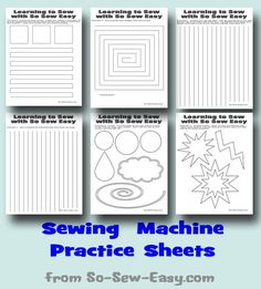 Sewing machine practice sheets. Follow along the lines and practice various different types of stitches