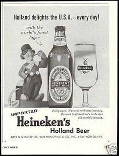 Heineken's Holland Beer Dutch Boy Vintage Food, Vintage Recipes, Vintage Ads, Best Ads, Beer Labels, Old Ads, Yummy Snacks, Cheers, Liquor