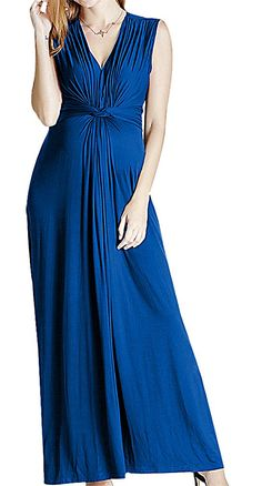 8ad1272168209 Women Maternity Clothes - Hibukk Women Classy Belted Sleeveless Deep V  Straight Maxi Maternity Dress Blue