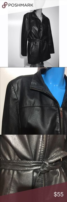Worthington 💯 black LEATHER coat large Gently preloved. Great condition. All leather Worthington Jackets & Coats