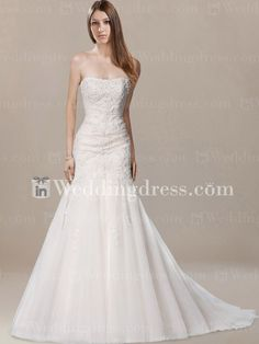 Timeless Strapless Tulle Lace Mermaid Wedding Gown BC495 New