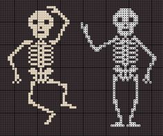 cross stitch chart for skeletons pattern