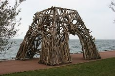 Eiffel Tower base in driftwood