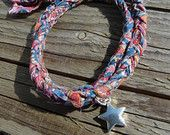 Liberty print SS15 braided double wrap bracelet with star charm