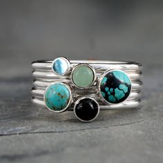 World Traveler Stacking Rings ~ Set of 5 Rings 5 solid sterling silver stacking rings with a luscious mix of stones. 6mm Turquoise 5mm Turquoise 4mm