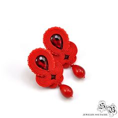 Red Clip-on Earrings, Ellegant Soutache Earrings, Ellegant Clip On Earrings…