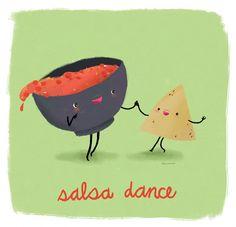 Food pun illustrations, Salsa Dance