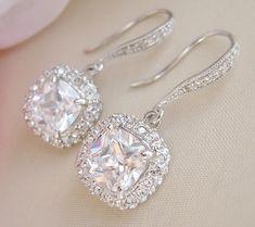 Square Bridal Earrings, Wedding Earrings, Crystal Bridal Jewelry, Cushion Cut Dangle Earrings. $52.00, via Etsy.