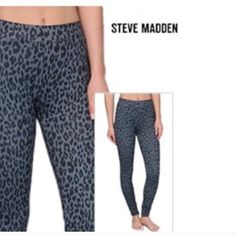 Steve Madden Cheetah Print Leggings Medium (8-10). Faux zip & front pockets. Functional back pockets. 95% polyester 5% spandex. Elastic waist. Denim look. Machine wash. Perfect with flats, boots, or booties. Very versatile. A staple piece with a splash of added cheetah print fun. From Steve Madden. Steve Madden Pants Leggings