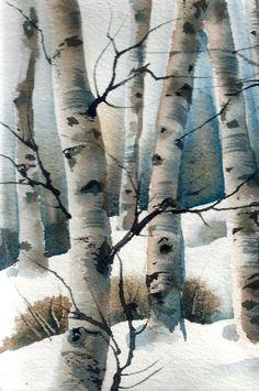 Aspen Grove Winter landscape ORIGINAL WATERCOLOR by wintercalm Birch Trees Painting, Painting Snow, Winter Painting, Winter Art, Watercolor Trees, Watercolor Landscape, Watercolour Painting, Landscape Art, Watercolors