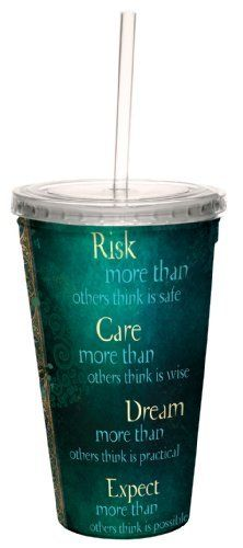 Tree-Free Greetings 80509 Inspiring Risk More Than Others Art by Duirwaigh Gallery Artful Traveler Double-Walled Acrylic Cool Cup with Straw, 16-Ounce by Tree Free. $11.95. Hand washing recommended. For cold beverages only - resists condensation. BPA free and Proposition 65 compliant. Quote Detail: Risk More Than Others Think Is Safe. Quality 16-ounce double-walled acrylic cool cup with reusable straw. The Tree-Free Greetings Artful Traveler Double-Walled Acrylic Cool Cup wi...