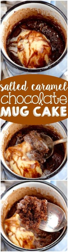This Salted Caramel Chocolate Mug Cake is your rich and delicious answer to a chocolate craving!:: (mug recipes microwave) Salted Caramel Chocolate, Chocolate Mug Cakes, Chocolate Caramels, Chocolate Chips, Craving Chocolate, Easy Desserts, Delicious Desserts, Yummy Food, Tasty