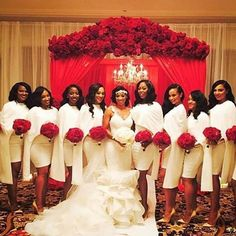 When your bridal party is LIT! Loving the entire bridal look, so elegant and timeless. Wedding planned by @poshproductions. Florals by @bellabloomsfloral. Bride and bridesmaids dresses by @elizabethfloresxo. MUA @lakenlasheir_mua. Tag your squad #weddingsonpoint #lewislovestory