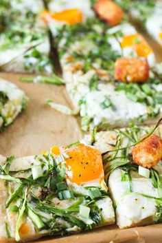 Breakfast Pizza {swap the tater tots with diced roasted sweet potato and use cashew cheese instead of provolone}